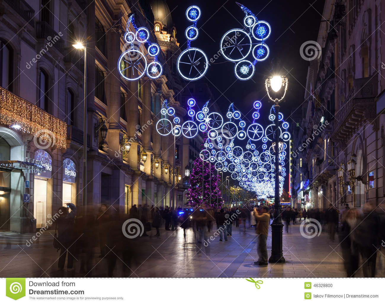Christmas In Barcelona Spain.Christmas Decorations In Barcelona Spain Editorial Image