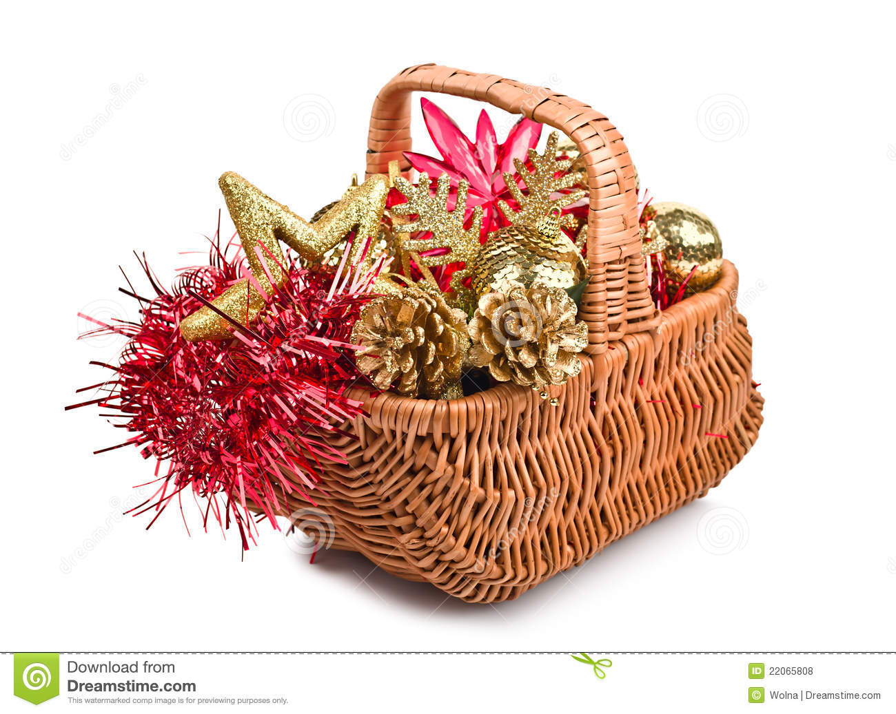 christmas decorations in basket - Christmas Basket Decorations