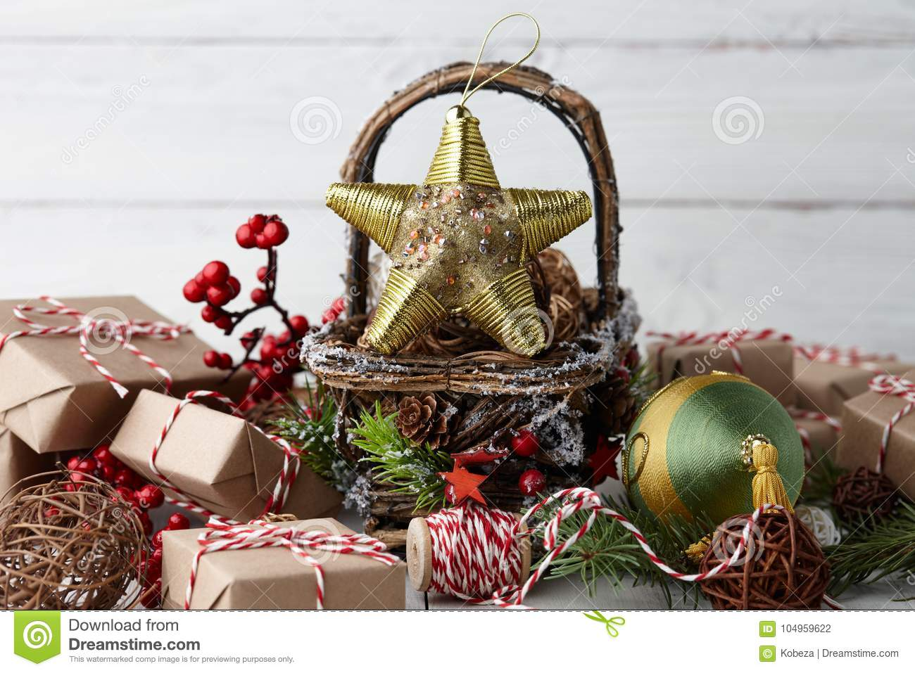 download christmas decorations basket on white planks stock photo image of rattan ball