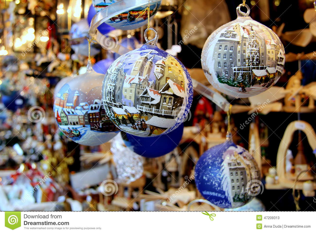 Christmas Baubles Germany : Christmas decorations stock photo image