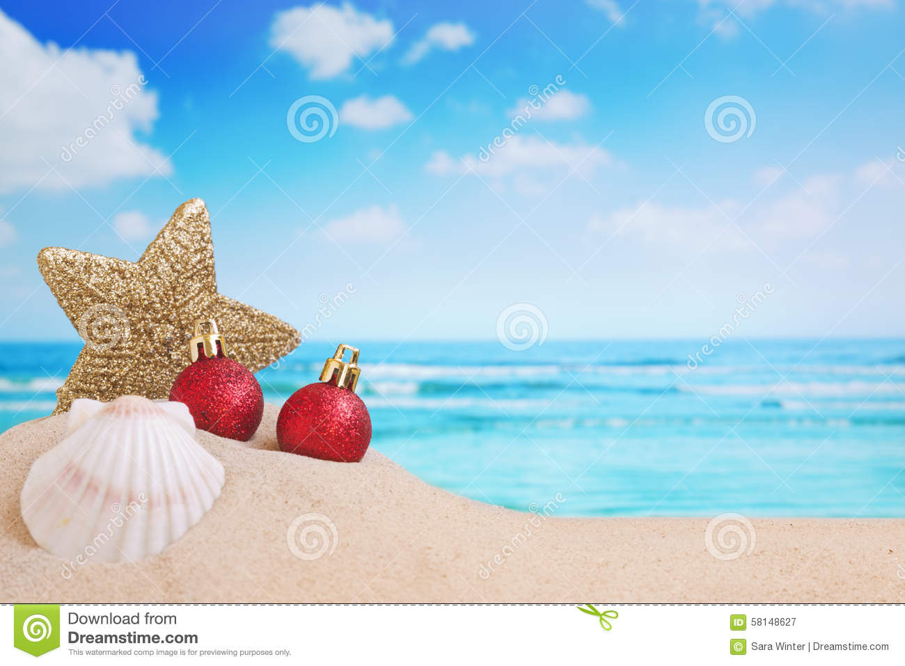 download christmas decorations on the beach stock image image of colour bauble 58148627