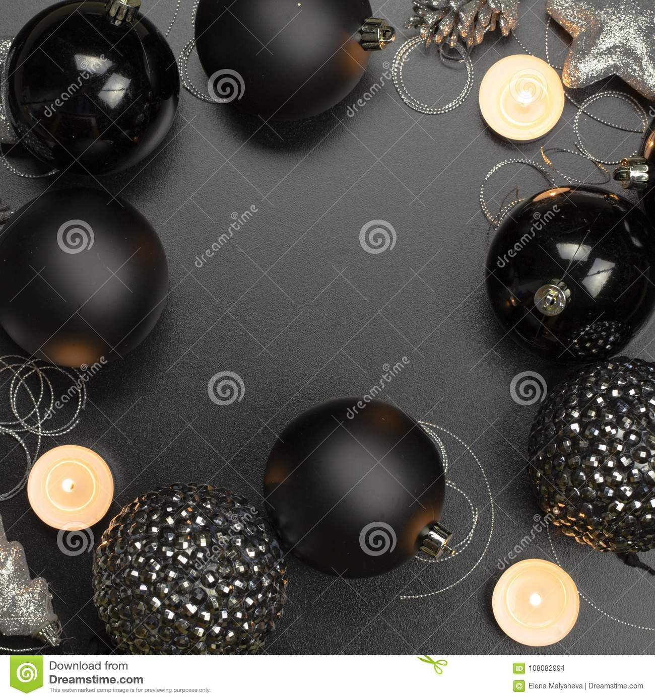 download christmas decorations in black in gothic style stock photo image of postcard black