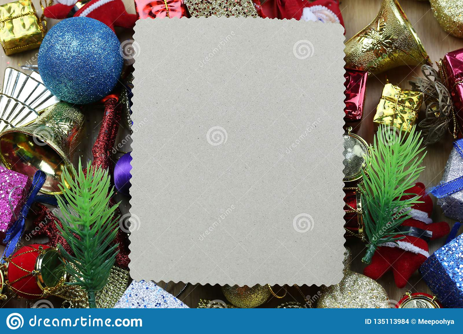 Christmas Decorations And Blank Vintage Paper Stock Photo Image Of