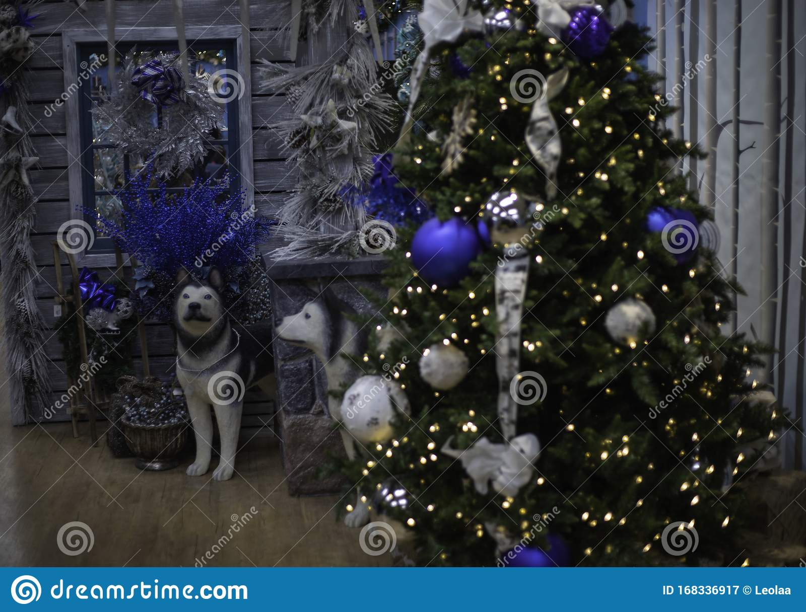 Christmas Decorations Of Blue And Grey Stock Image Image Of Balls Stands 168336917