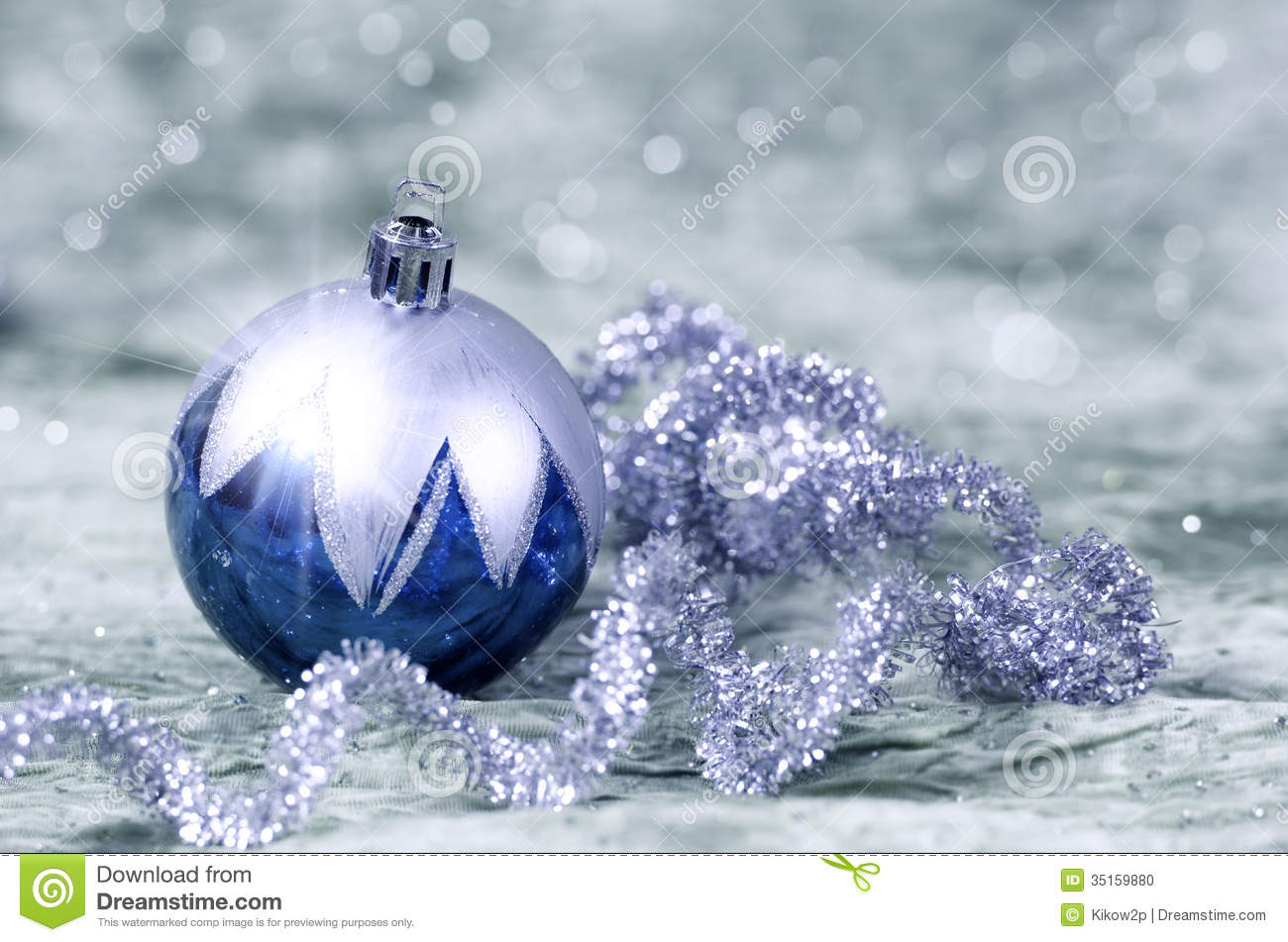 Christmas Decorations Blue And Silver Stock Photo - Image: 35159880