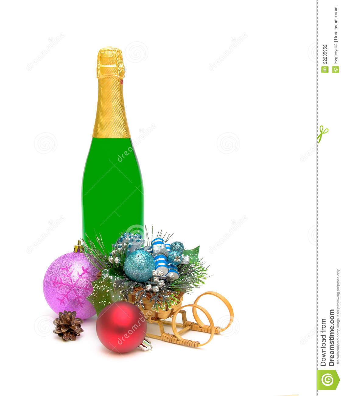 Christmas decorations and a bottle of champagne stock for Christmas bottle decorations