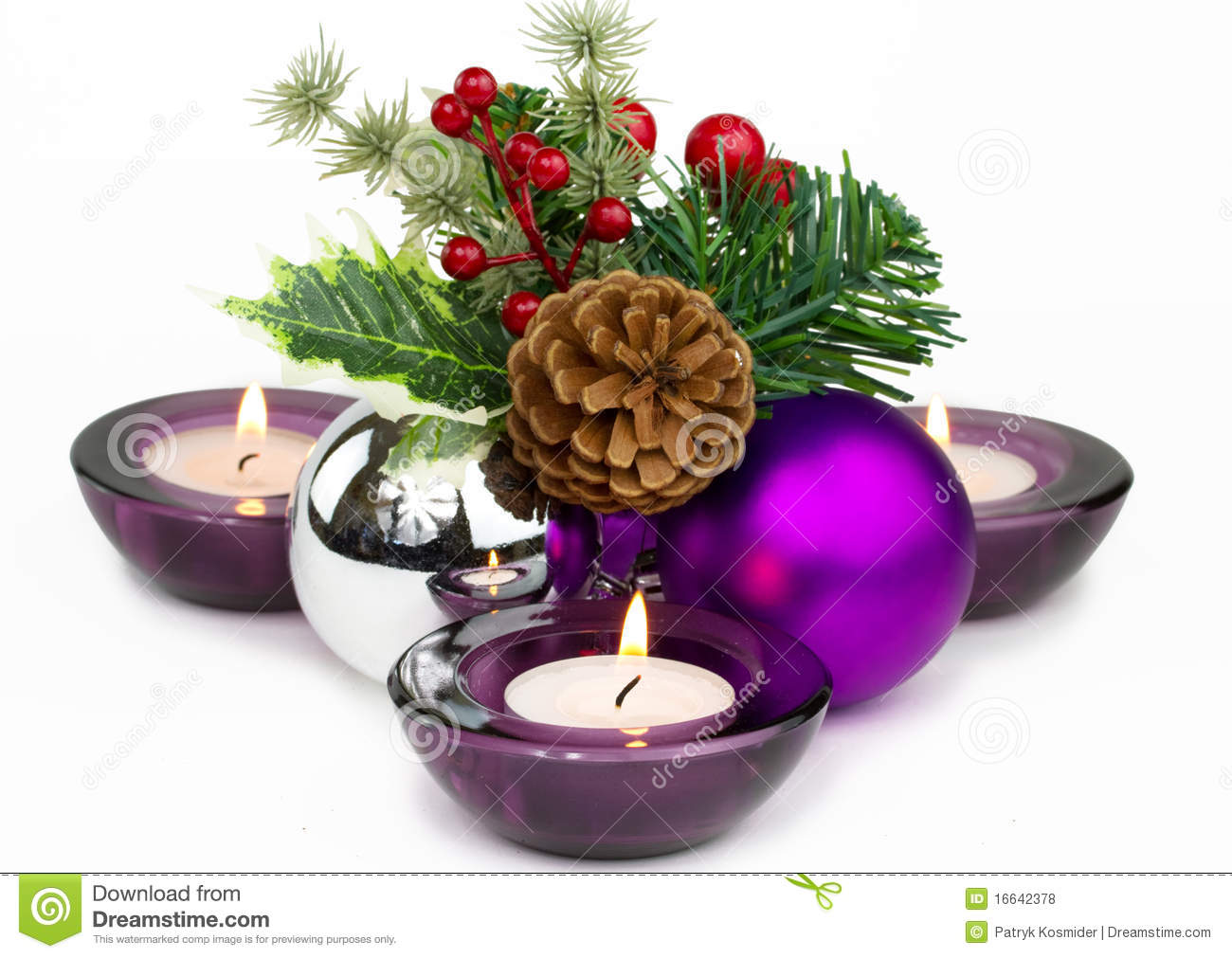download christmas decorations and candles stock photo image of gift name 16642378