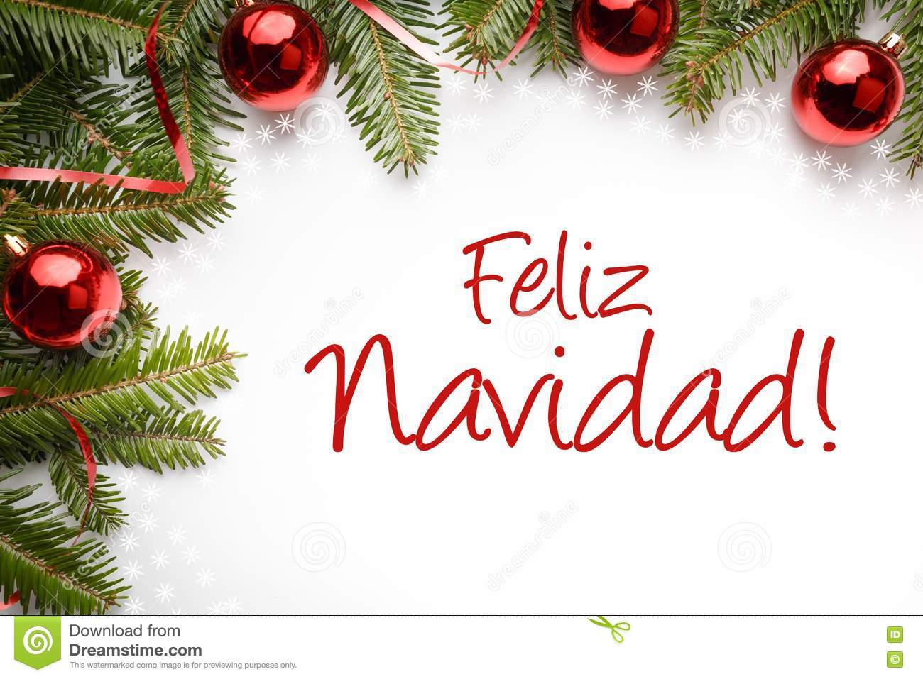 christmas decorations with christmas greeting in spanish feliz navidad merry christmas royalty