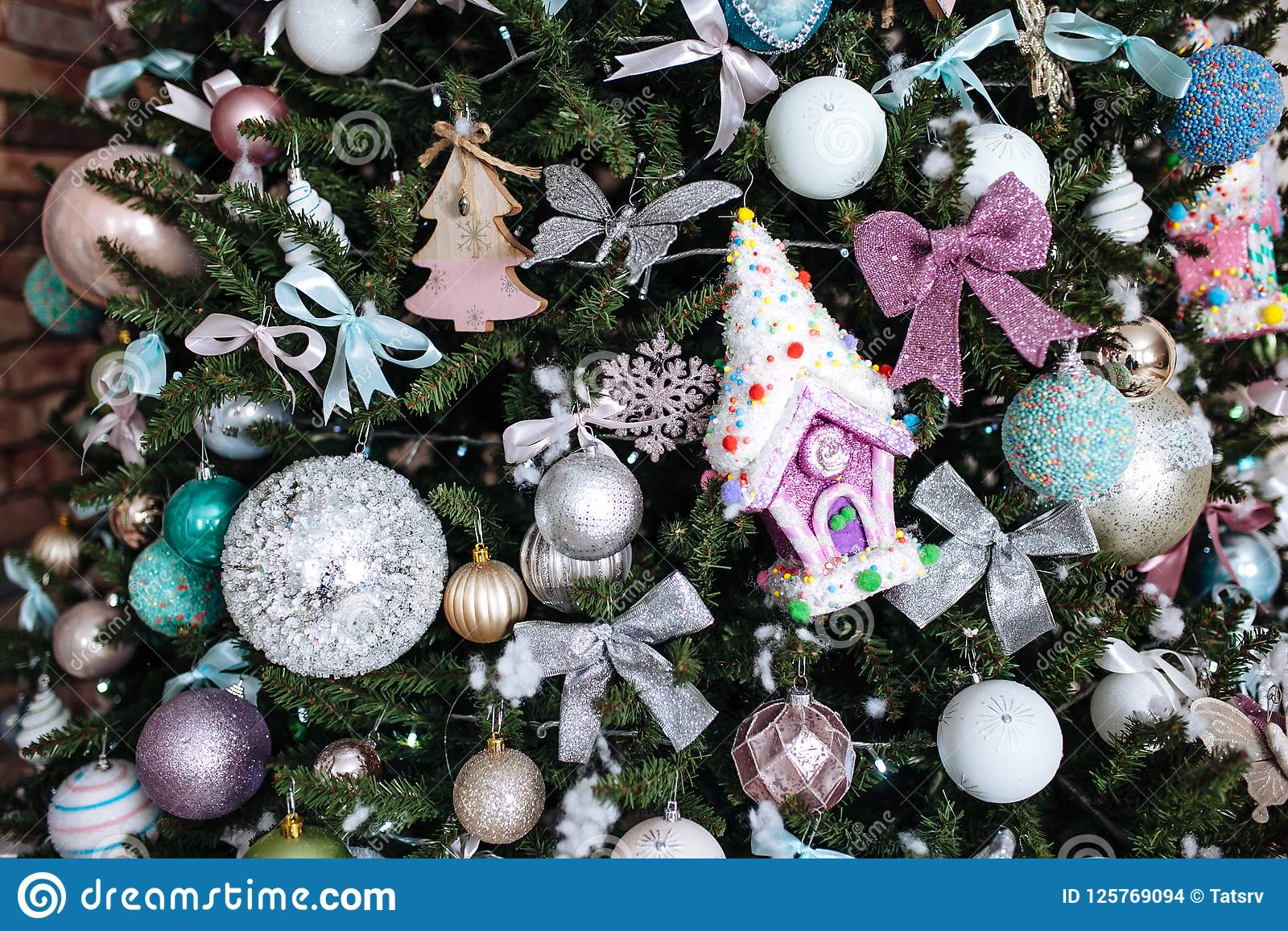 Christmas Ball Garlands.Christmas Decorations On The Christmas Tree Snowflakes