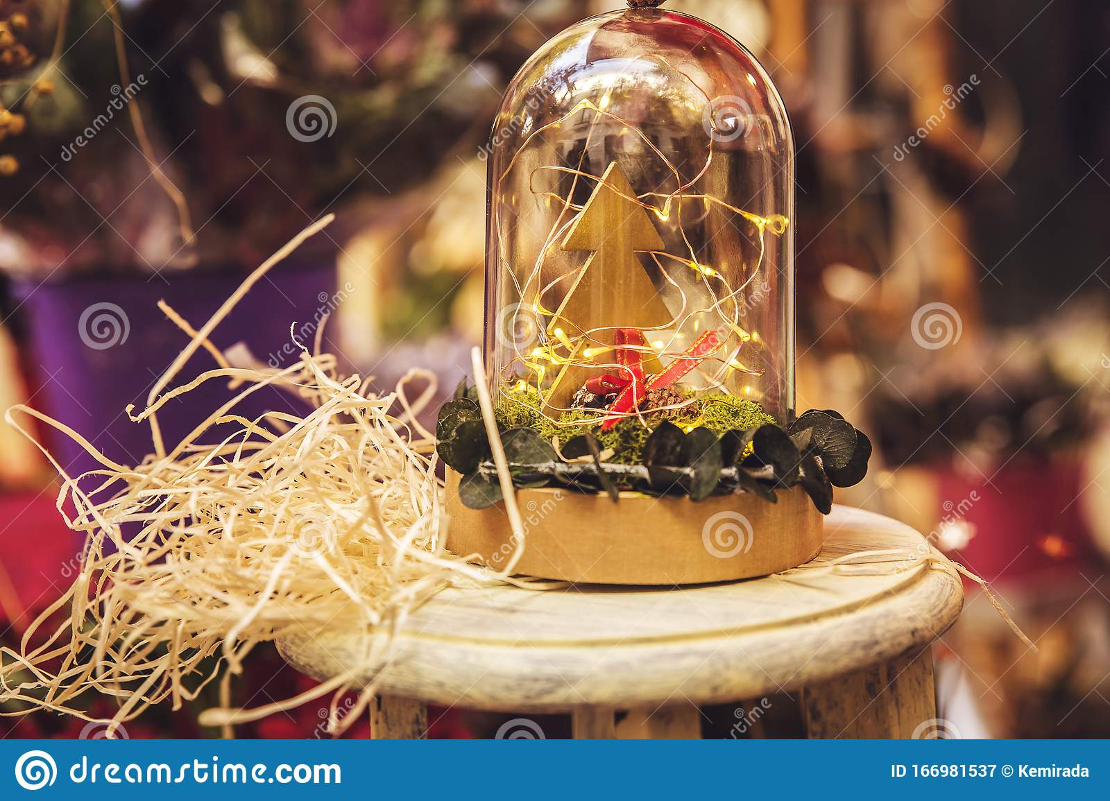 Small Wooden Christmas Tree Inside A Glass Container Stock Image Image Of Christmas Conservation 166981537