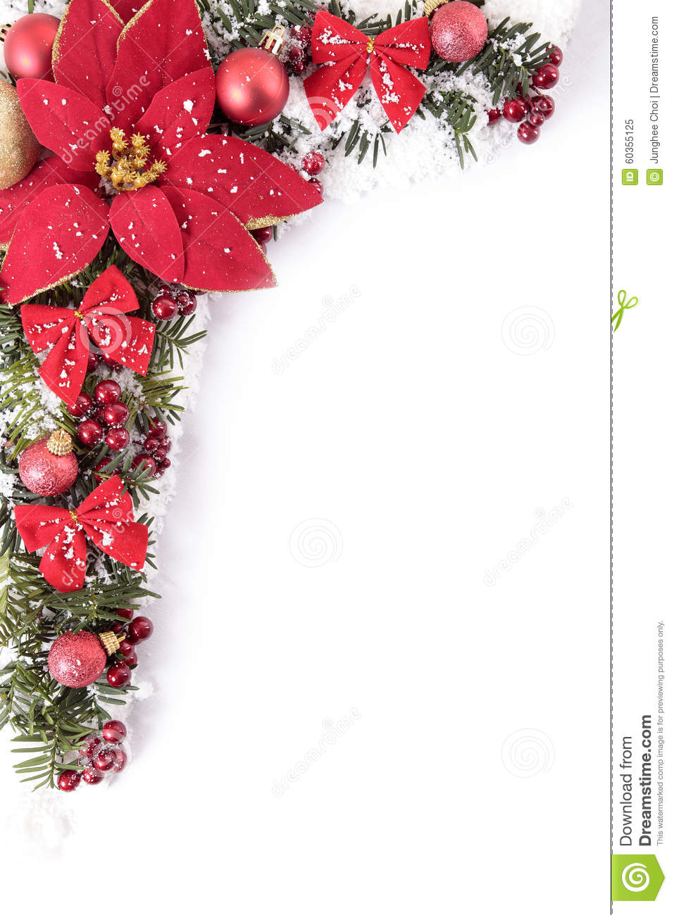 christmas decorations corner border frame with poinsettia and white copy space vertical stock photo 60355125 megapixl