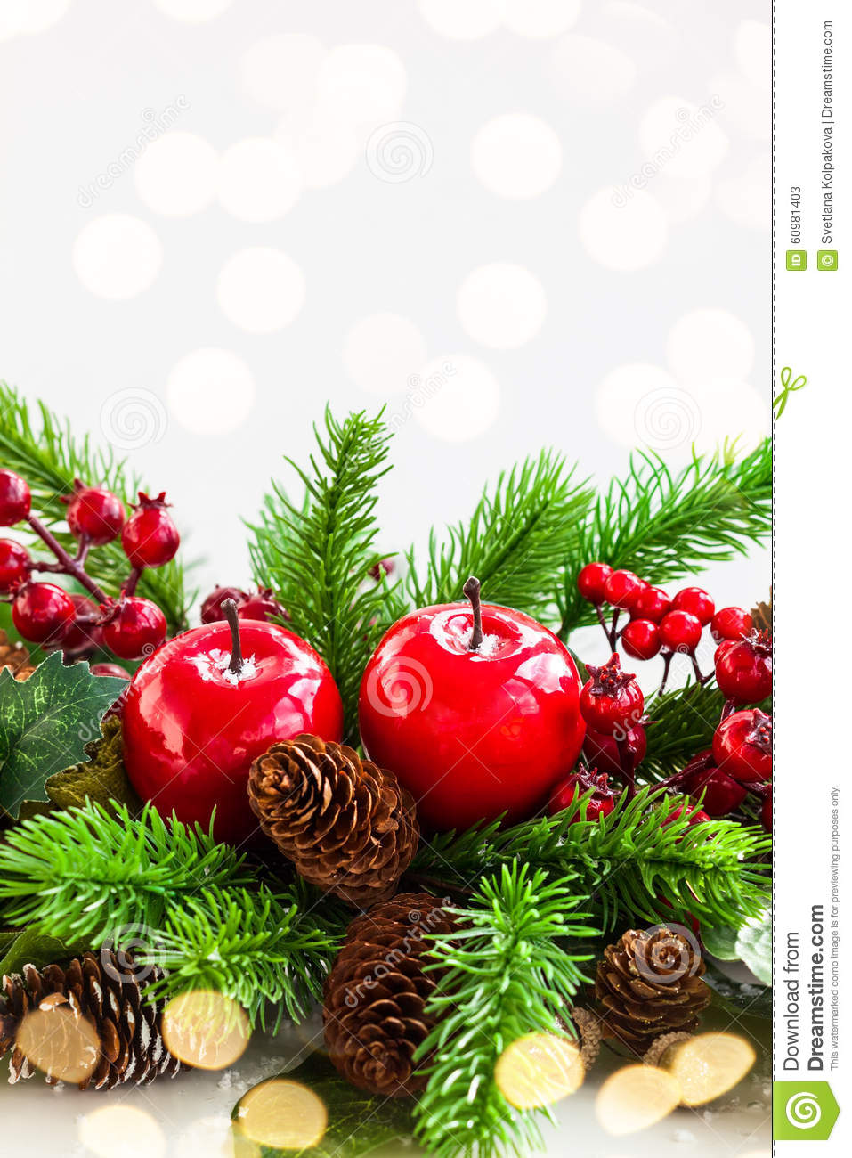 Christmas decorations stock photo image 60981403 for Fir cone christmas tree decorations