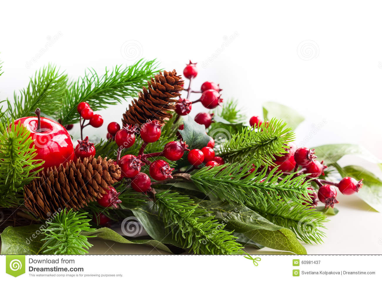 Christmas decorations stock photo image 60981437 for Fir cone christmas tree decorations