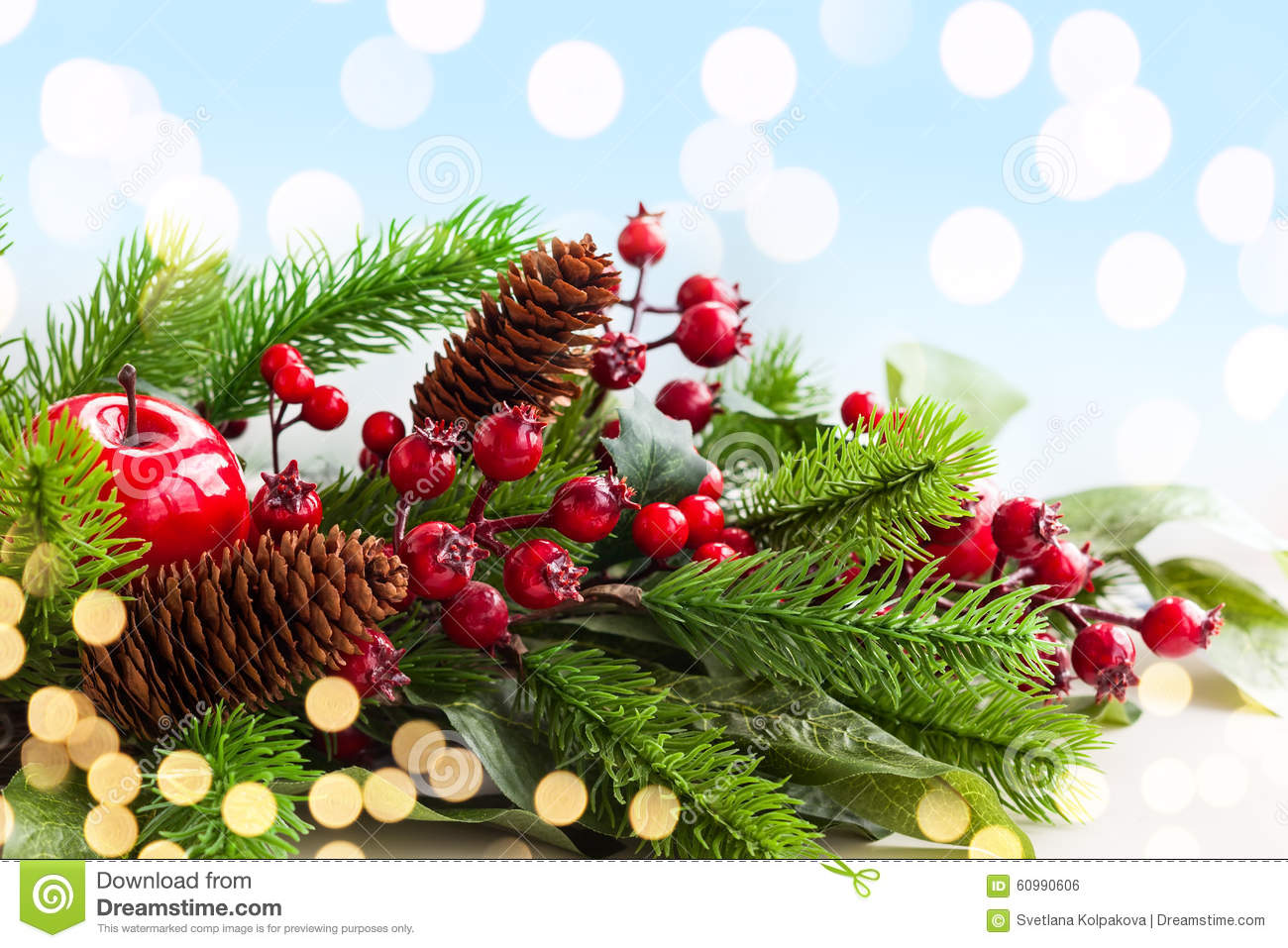 Christmas decorations stock photo image 60990606 for Fir cone christmas tree decorations