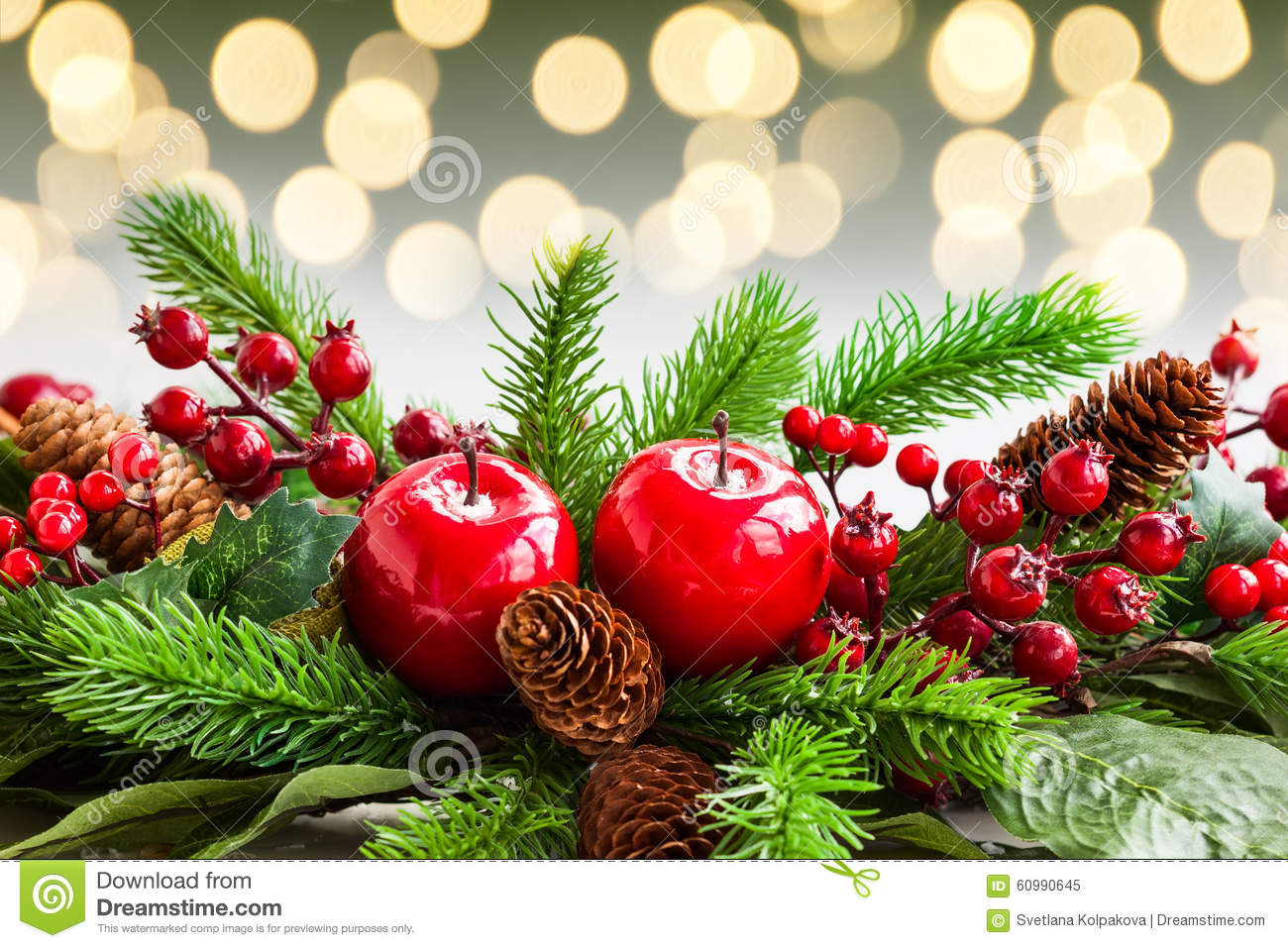 Christmas decorations stock photo image 60990645 for Fir cone christmas tree decorations