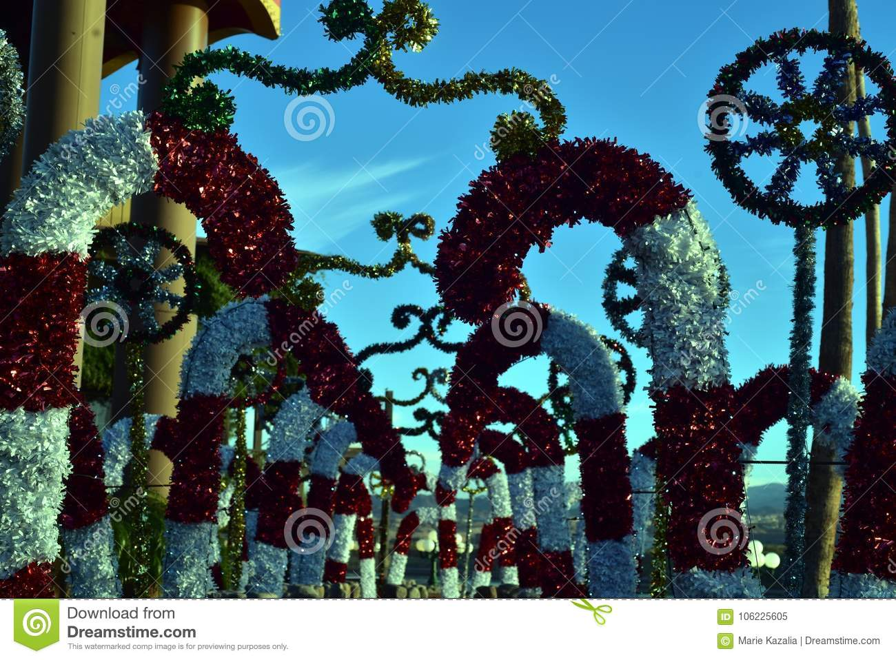 christmas decorations in desert with palm trees