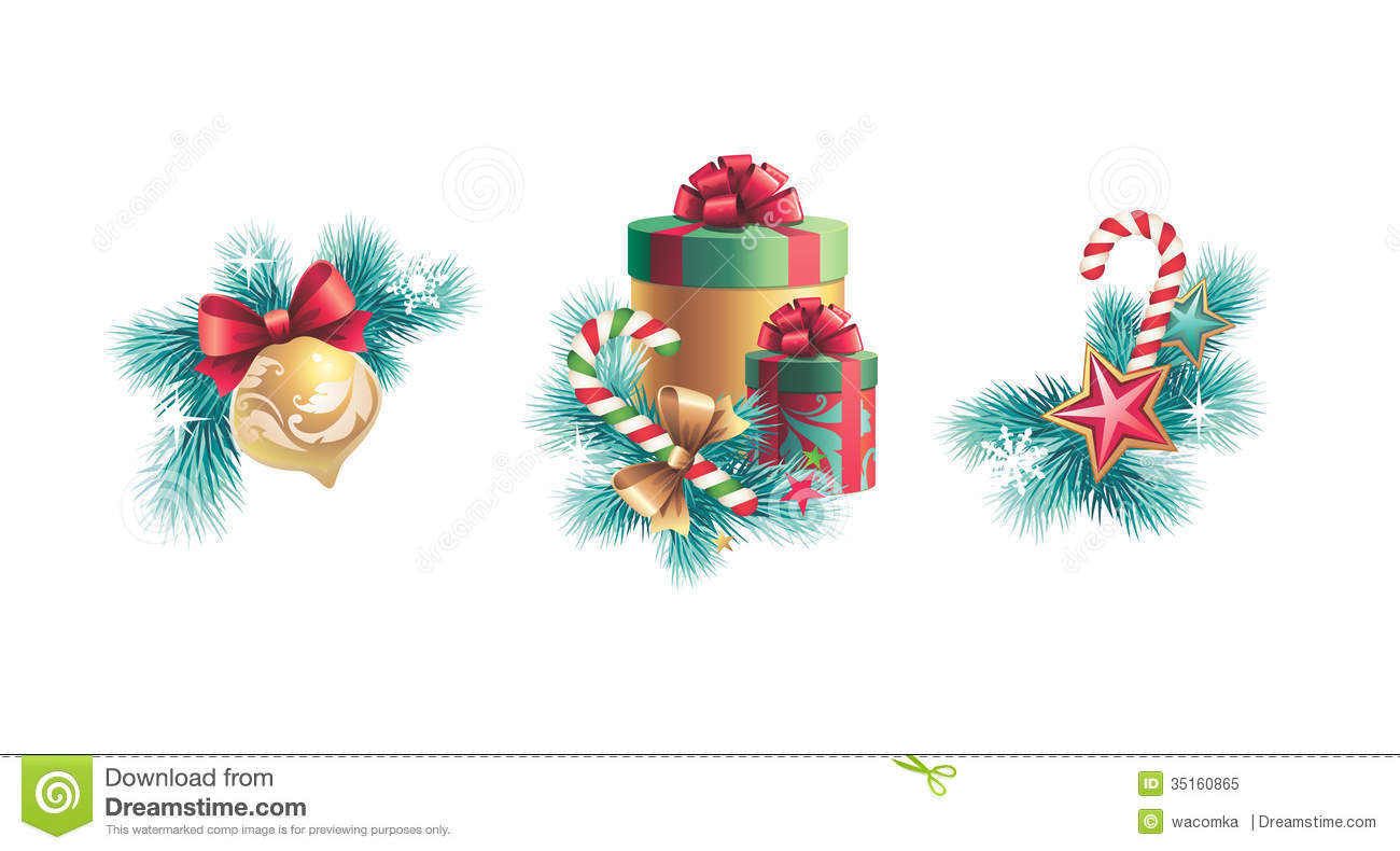 Royalty Free Stock Photo Christmas Decorations Design Set Tree Decoration Gift Boxes Elements Isolated White Background Image35160865 on design of pine trees