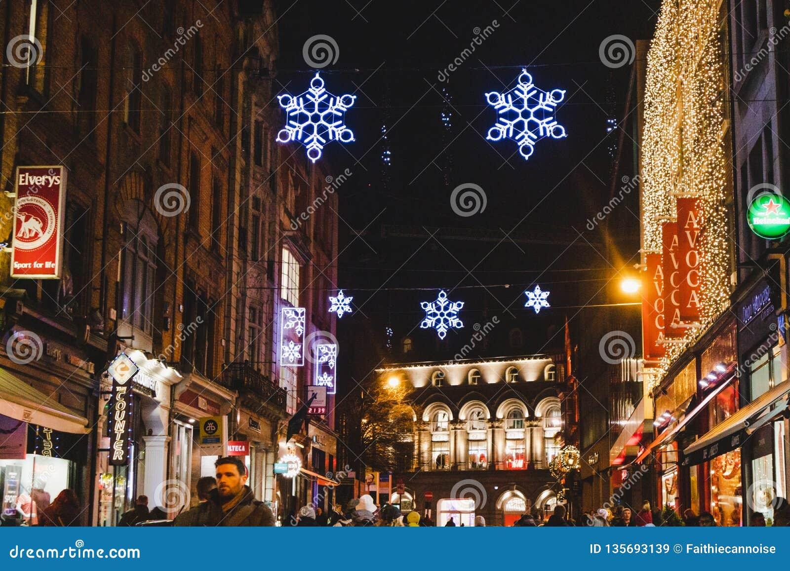 Christmas In Dublin Ireland.Christmas Decorations In Dublin City Centre Near Grafton