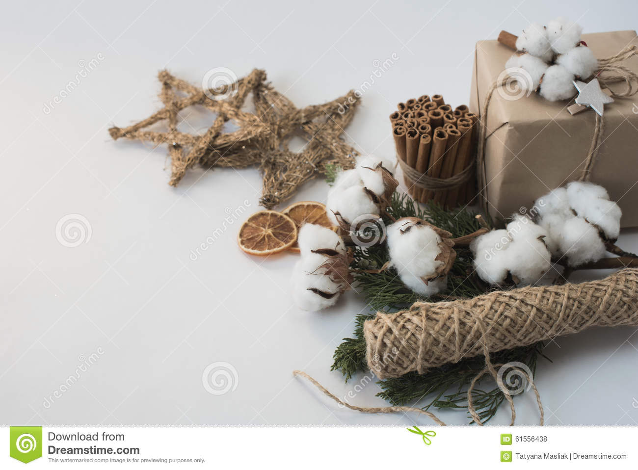 Christmas Decorations Eco Cotton Flowers Cinnamon Stars Spruce Branches And Jute Rope Hank Over White Background Holiday Xmas Ch Stock Photo Image Of Abstract Branch 61556438