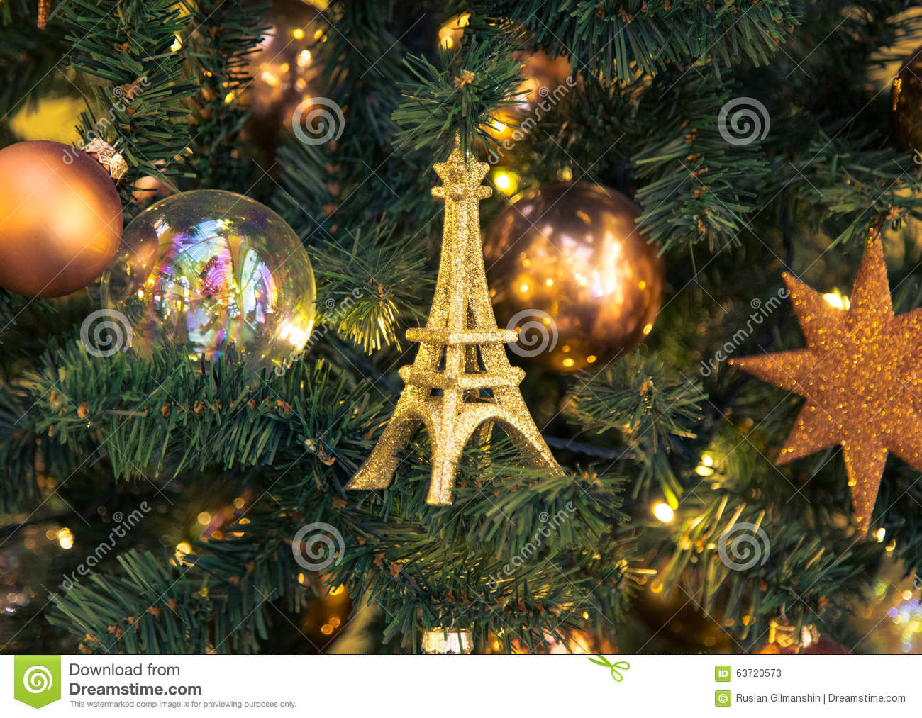Eiffel tower christmas tree ornament - Christmas Decorations With Eiffel Tower