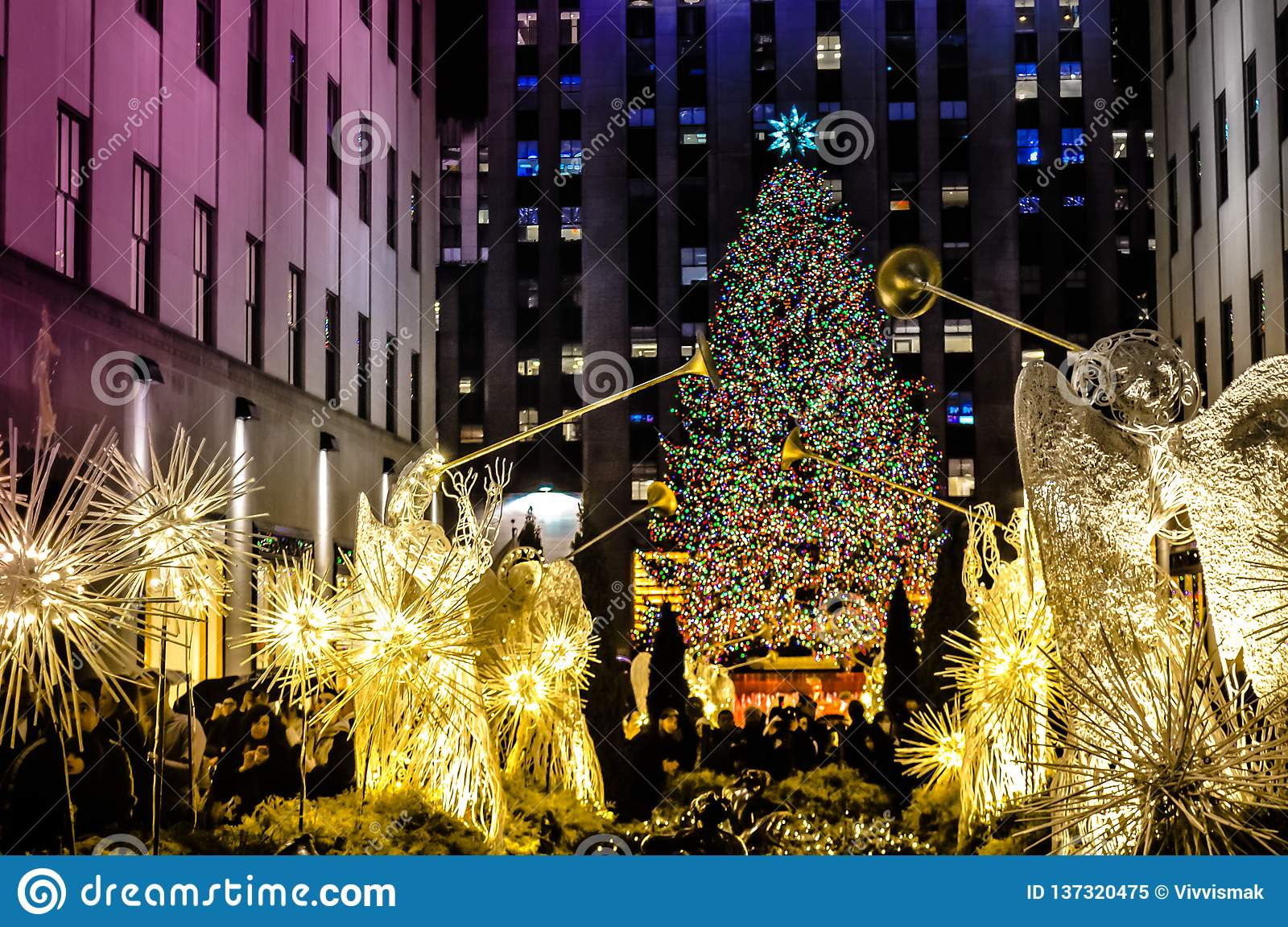 Christmas decorations in front of the Rockefeller center in Manhattan, NYC, USA