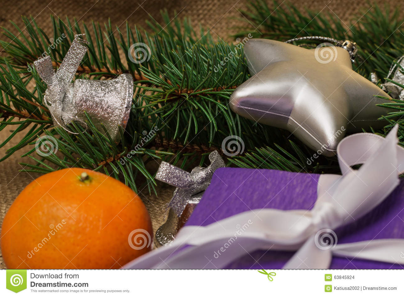 Christmas decorations and fur tree branch stock photo for Fir cone christmas tree decorations