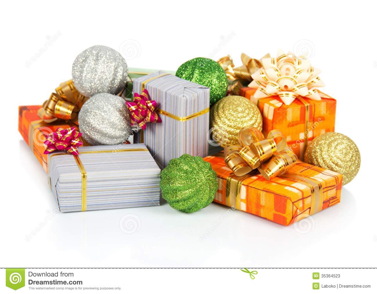 christmas decorations and gift boxes