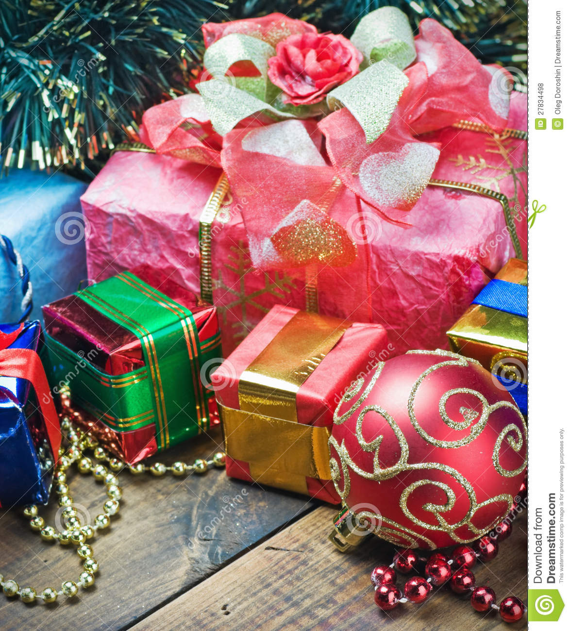 Christmas decorations and gifts stock photo image 27834498 for Christmas decoration stuff