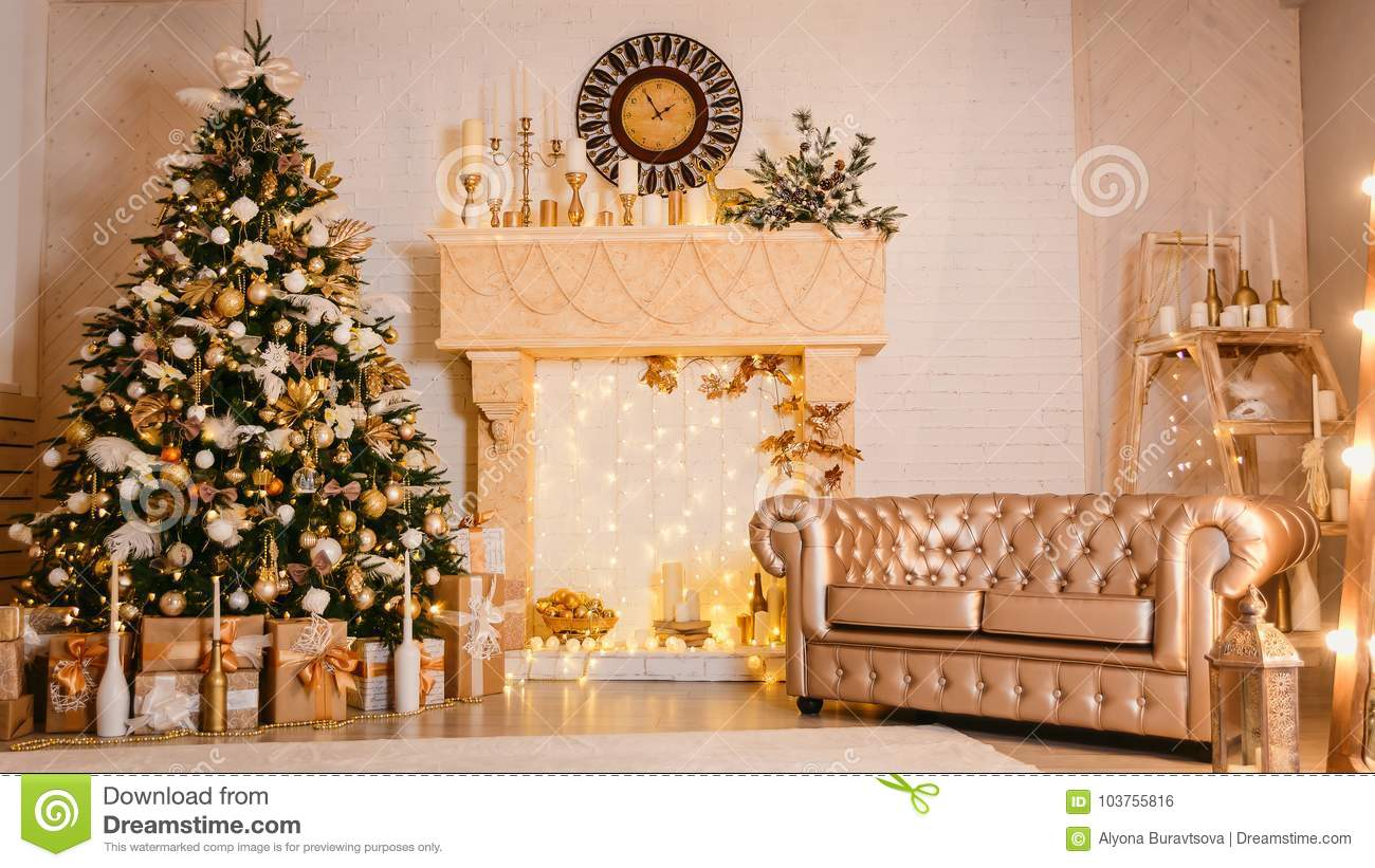 Fireplace Christmas Decorations.Christmas Decorations In Gold Stock Photo Image Of Travel