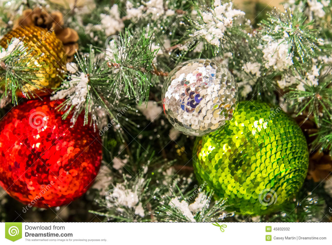 christmas decorations gold silver green red ornaments