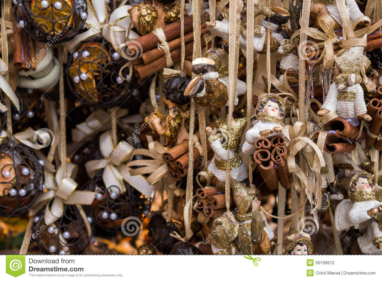Christmas Decorations With Golden Strips Stock Photo