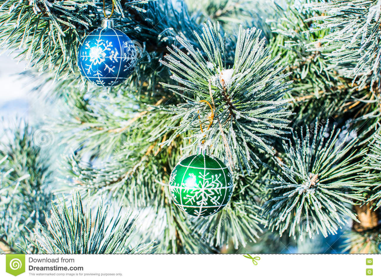 Christmas Decorations Green And Blue Balls At Xmas Tree Stock Photo Image Of Decoration White 81901744