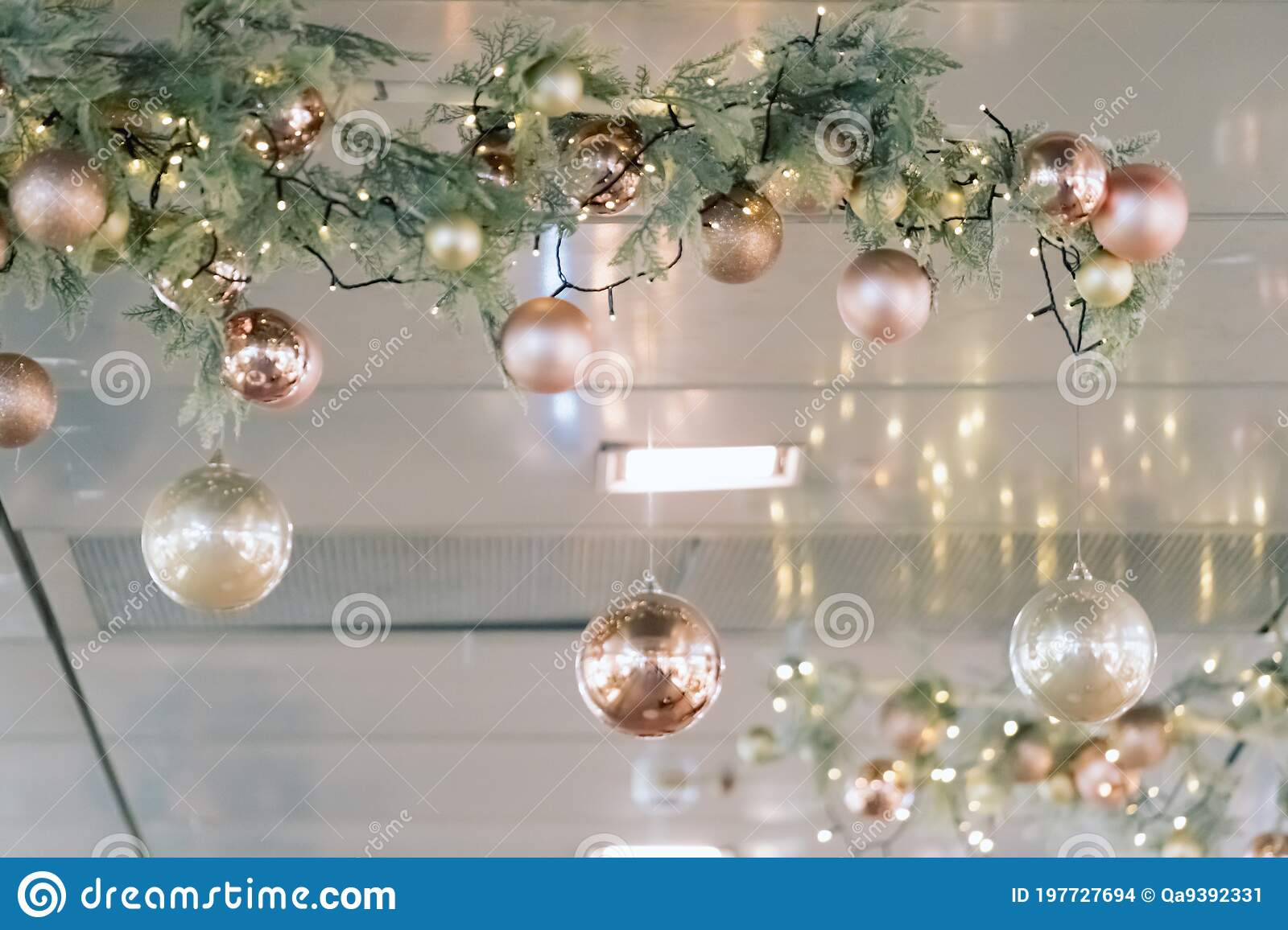 Christmas Decorations Hanging From Ceiling In Modern Mall Shopping Center Or Exhibition Place Baubles Hanging On Stock Photo Image Of Beautiful Center 197727694