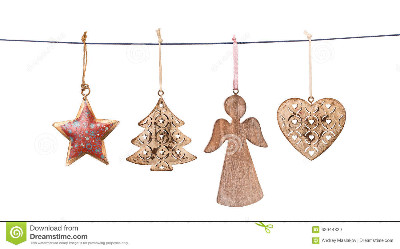 christmas decorations hanging on string isolated stock image image of holiday celebrate 62044829. Black Bedroom Furniture Sets. Home Design Ideas