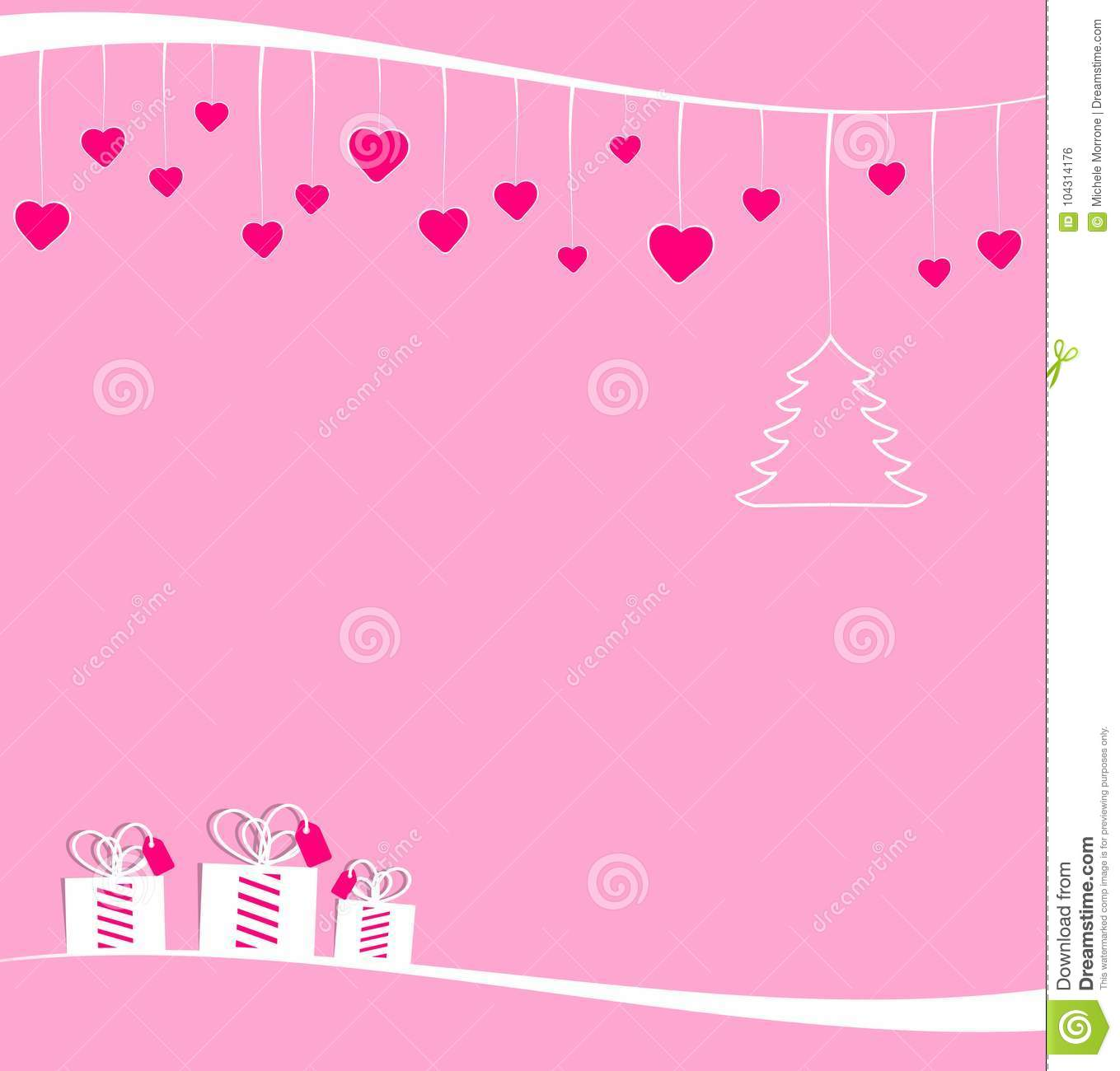 Christmas Tree Hearts And Gift Boxes Stock Illustration