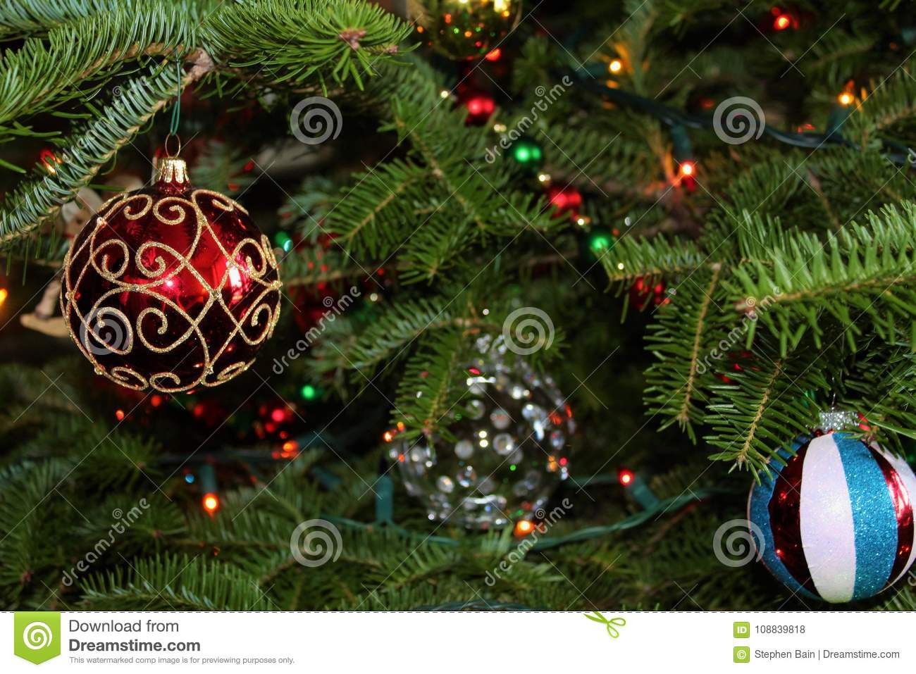 Christmas Ornaments Glowing On A Green Pine Tree Stock Photo - Image ...