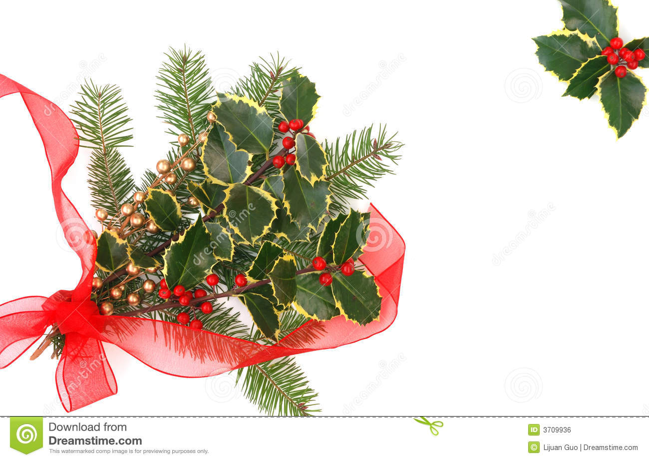 Christmas Decorations With Holly Berries Royalty Free