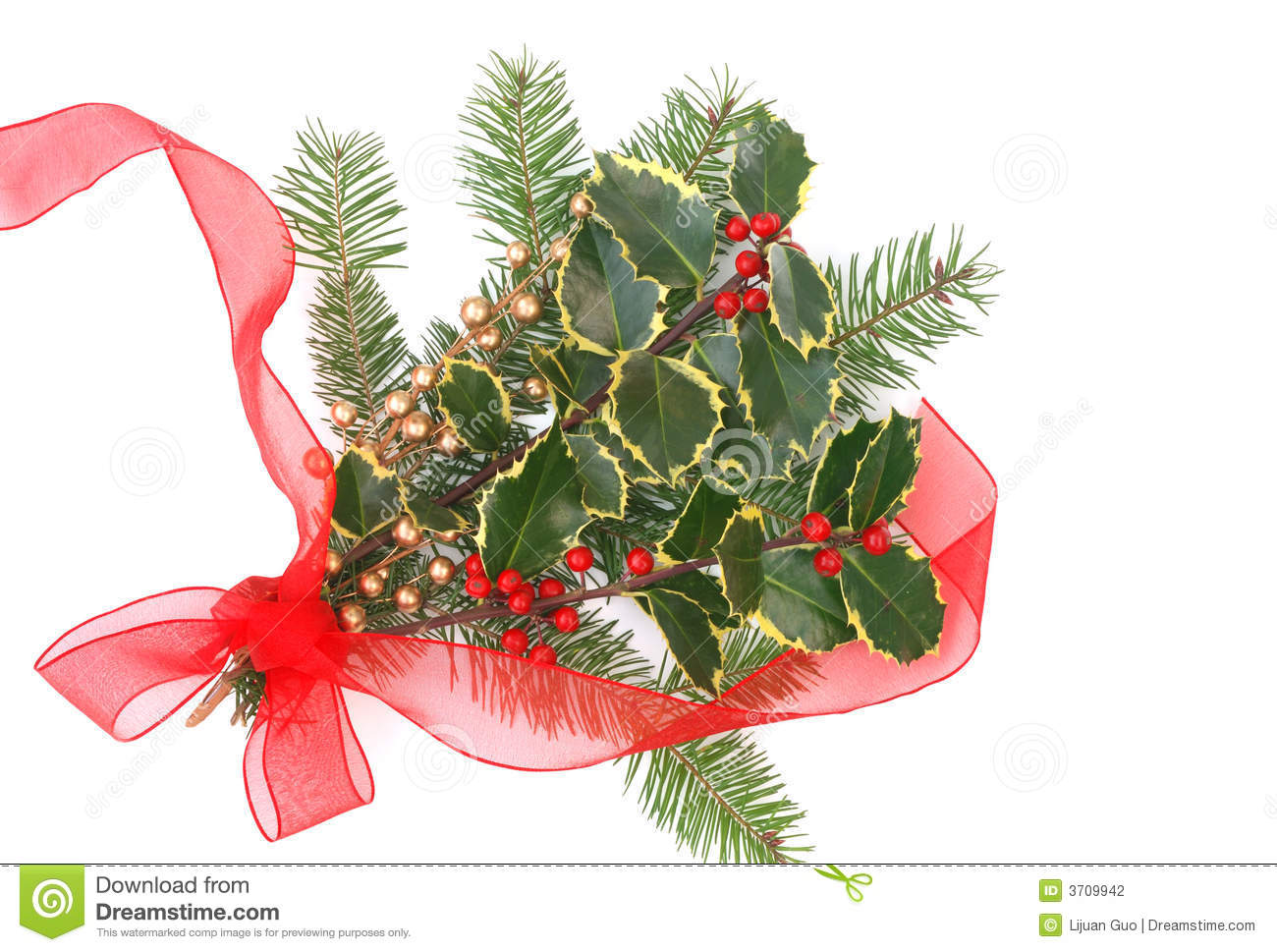 christmas decorations with holly berries