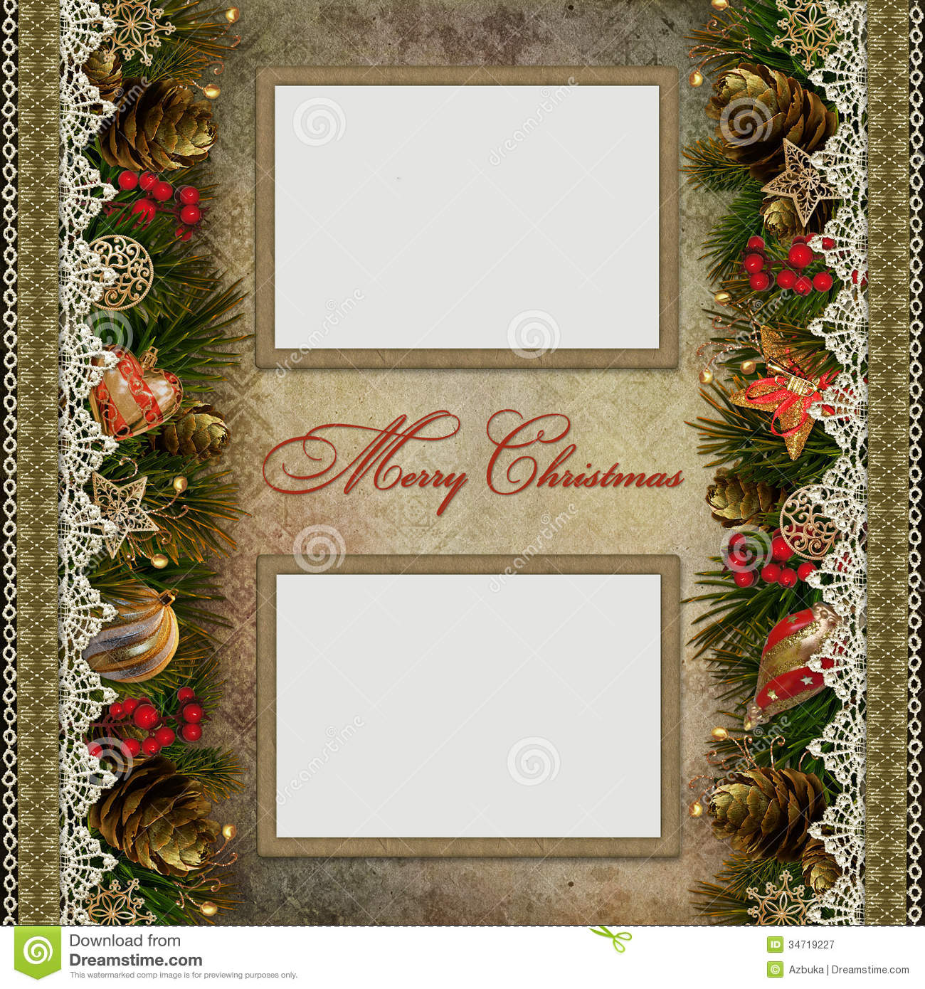 Christmas Decorations With Lace And Frames On Vint Stock