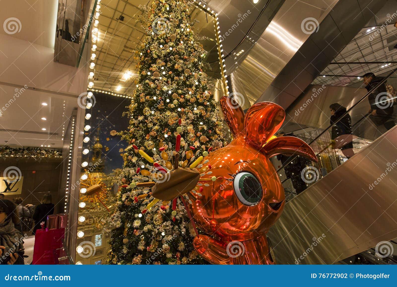 Christmas Decorations At Le Printemps Store, Paris, France Editorial ...