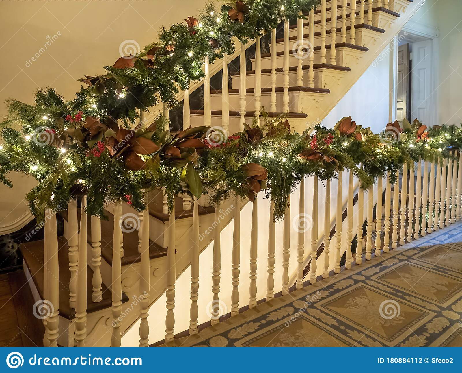 Picture of: Christmas Decorations And Lights On The Railing Stock Photo Image Of Home December 180884112