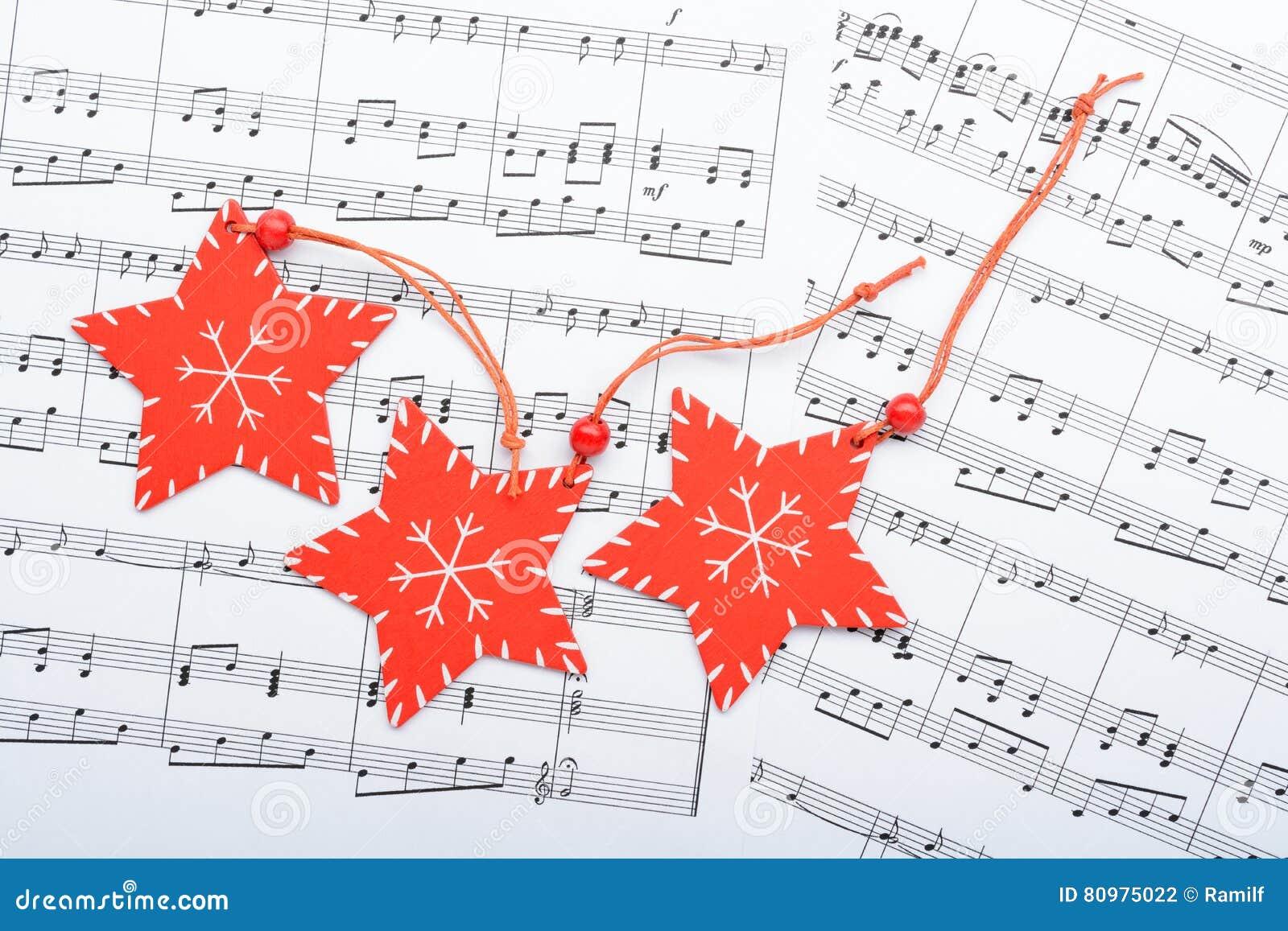 Christmas Decorations Lying On Notes Sheet Stock Photo - Image of ...