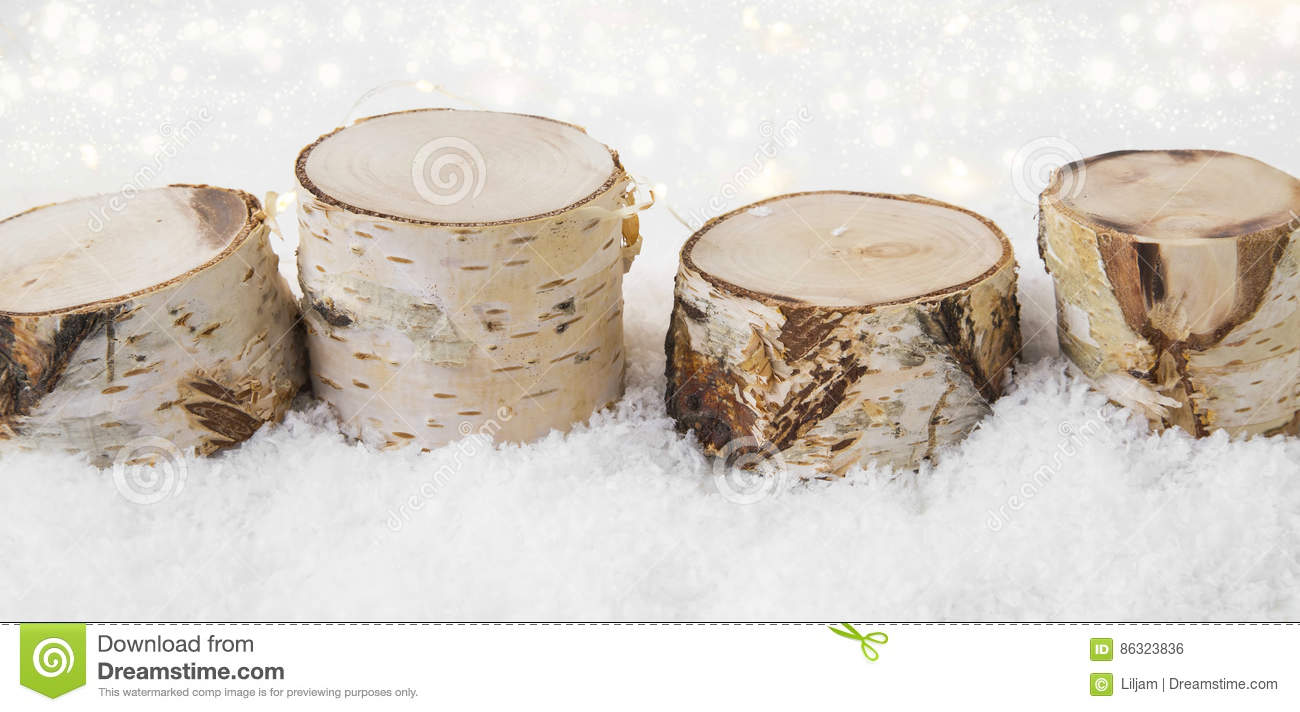 download christmas decorations made of birch wood in the snow with backgr stock photo image - Birch Christmas Decorations