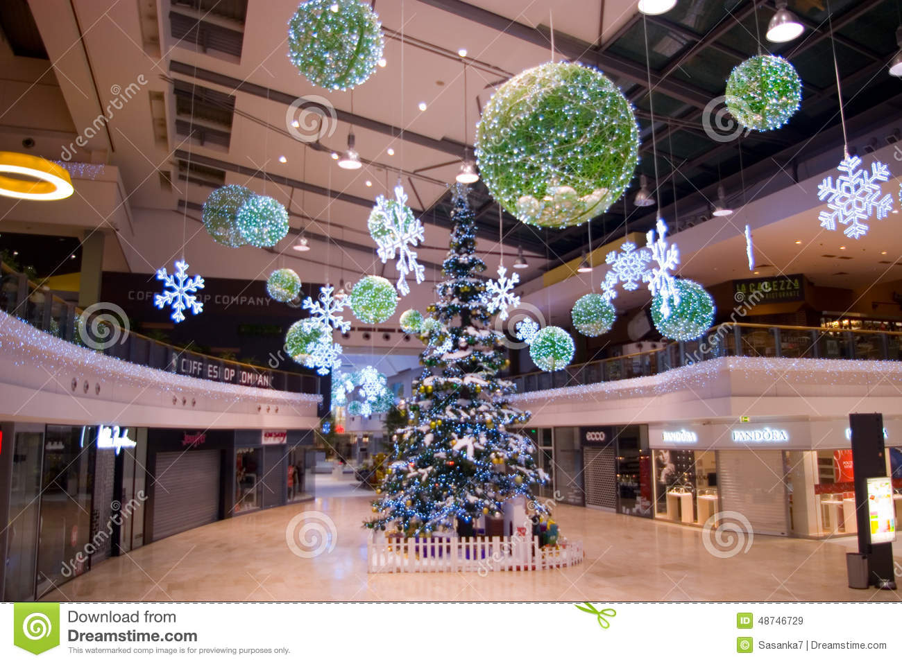 Christmas decorations at mall editorial stock image for Decoration shopping