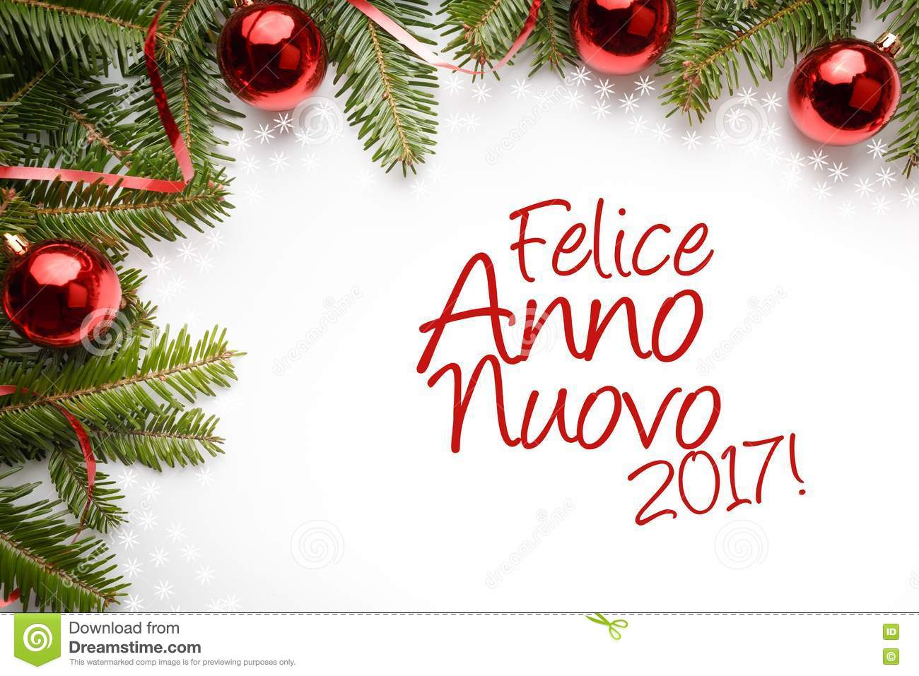 Christmas Decorations With New Year Greeting In Italian `Felice Anno ...