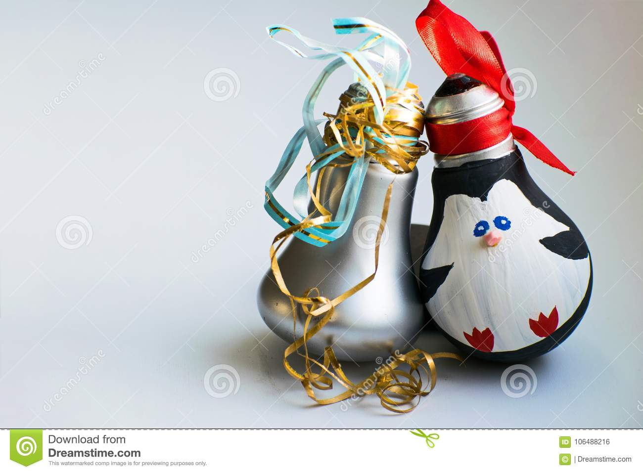 Christmas Decorations New Year S Toys Penguin And Pear On White Background Merry Christmas And Happy New Year Stock Photo Image Of Celebration Holiday 106488216