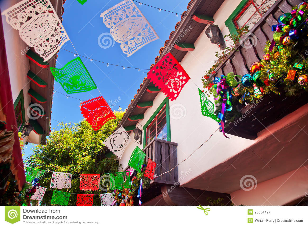 Mexican Christmas Decorations.Christmas Decorations Old San Diego California Stock Image
