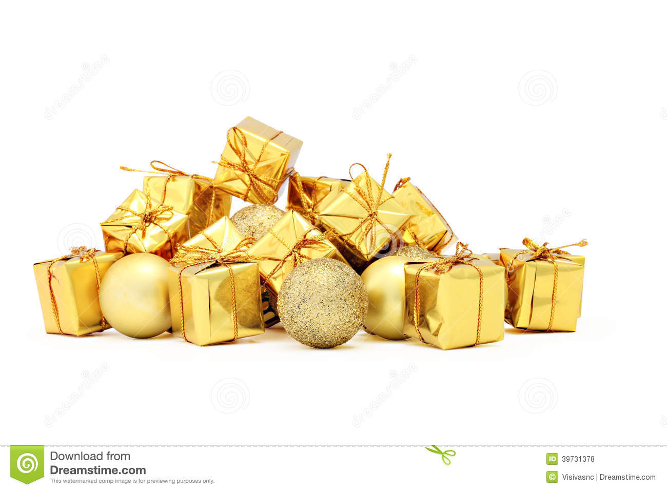 Christmas decorations packages and golden balls stock for Christmas decoration deals