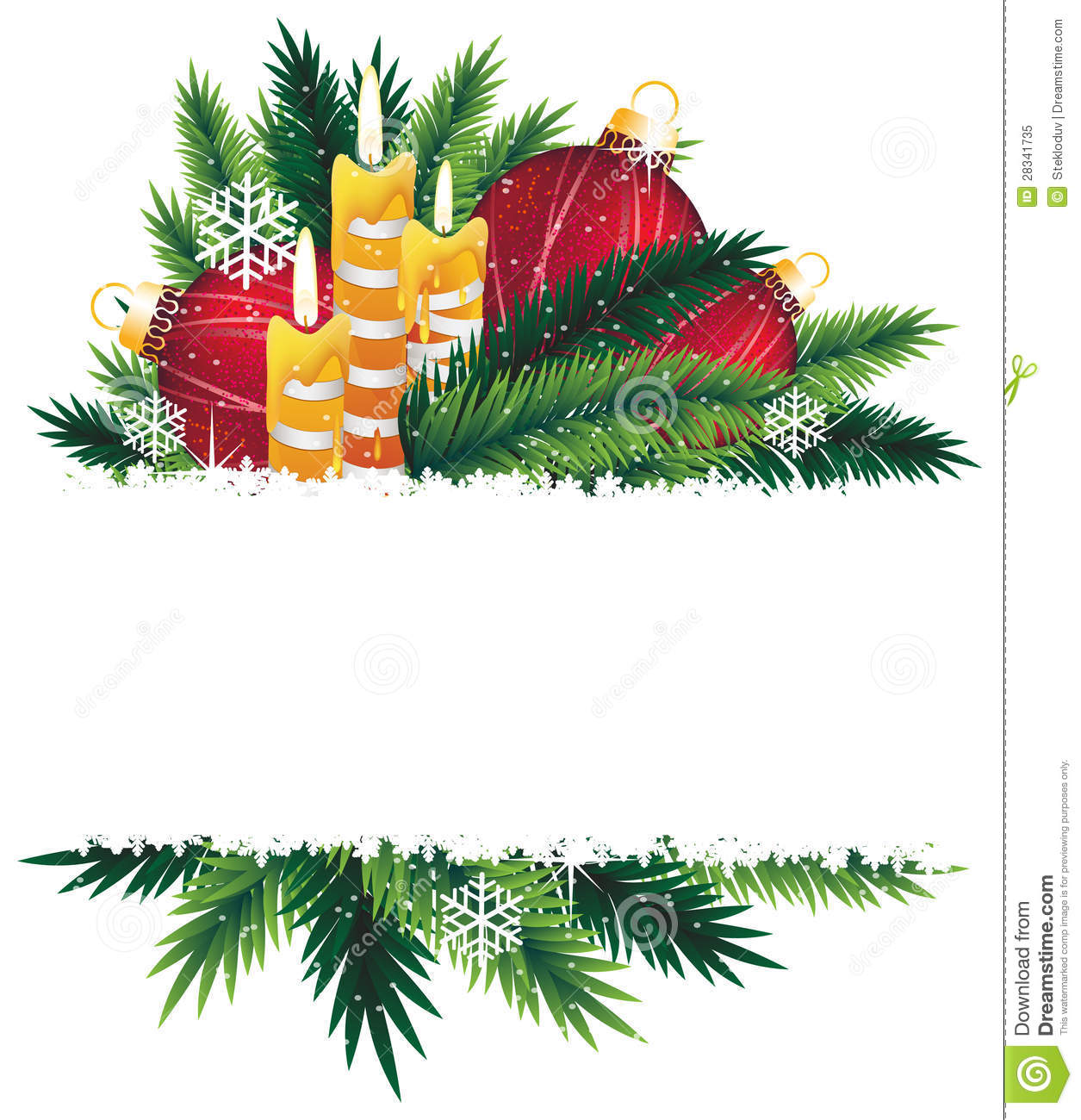 Christmas Decorations With Tree Branches: Christmas Decorations And Pine Tree Branches. Stock Vector