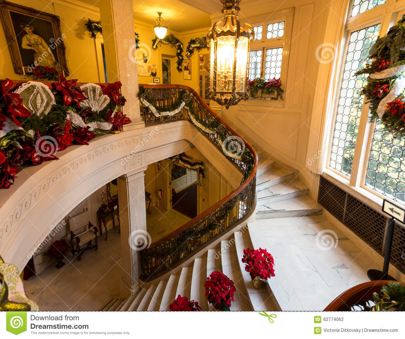 Christmas Decoration Store Portland Oregon: Christmas Decorations In Pittock Mansion Editorial